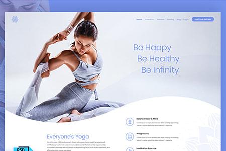 瑜伽健身运动网页设计模板