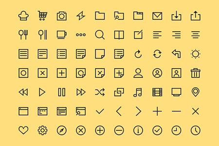 70个简单线性常用项目图标