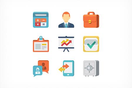9个彩色扁平化办公业务图标