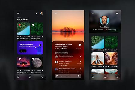 深色主题摄影应用程序概念UI界面