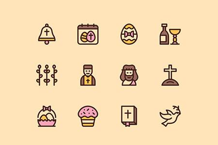 复活节卡通图形图标