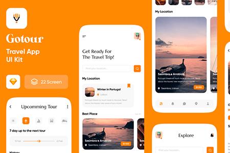 GoTour Travel 旅行社交APP应用界面设计
