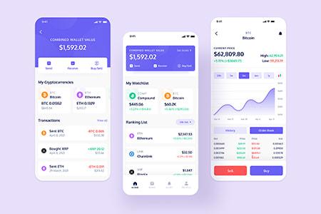 虚拟币数据应用 App界面