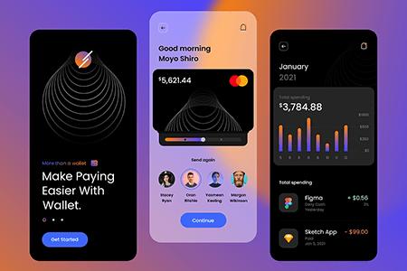 支付钱包应用 App Ui 深色主题界面