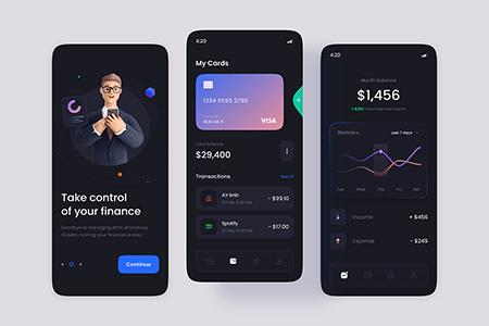 金融钱包支付深色主题 App Ui 界面