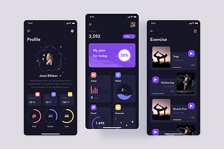 健身运动App Ui深色主题界面