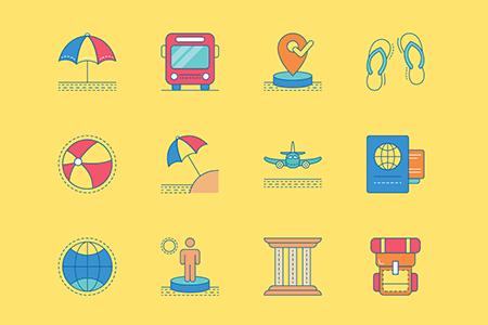 30个彩色旅行图形图标