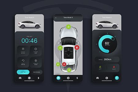 Tesla特斯拉轿跑手机面板概念设计