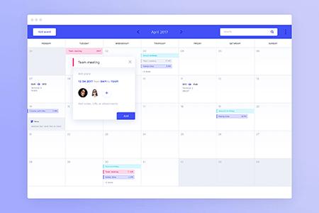 蓝色简约日历日程计划界面