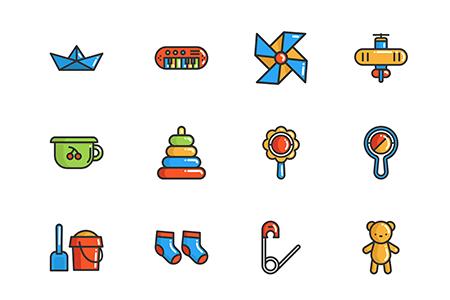 50枚儿童娱乐元素图标