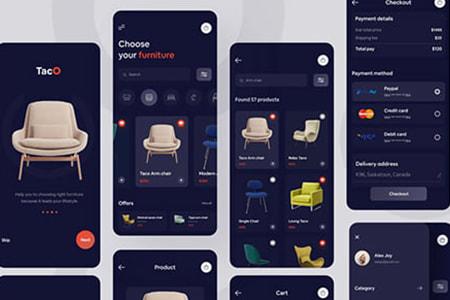 家具电商App Ui深色主题界面
