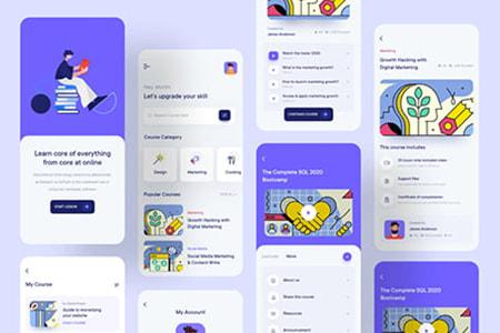 教育培训在线课程 App Ui 界面包