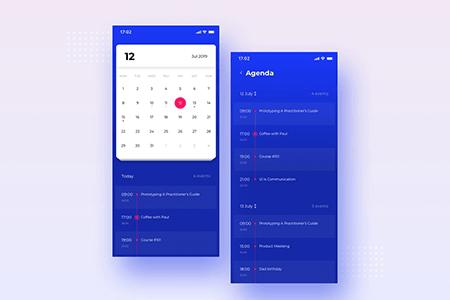 蓝色日历日程提醒UI界面