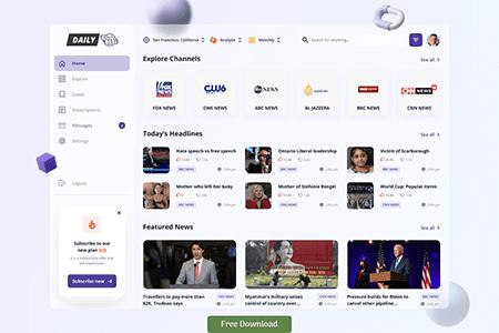 新闻Web App仪表板概念设计
