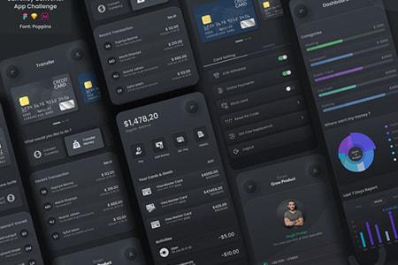 现代布局和深色主题设计的货币转换器应用程序UI