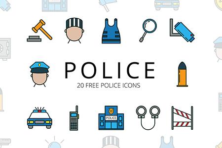 警察矢量免费图标集
