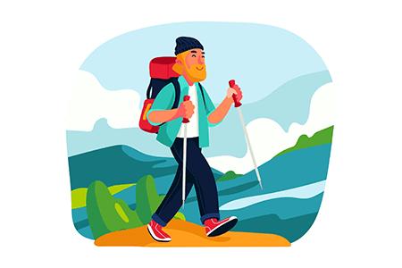 免费的登山远足主题的矢量插画素材