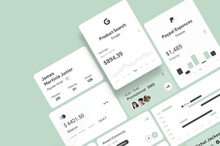 设计简洁时尚卡片UI元素