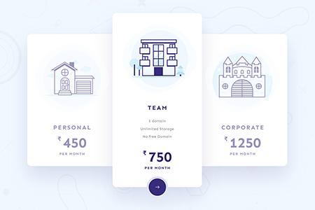简单干净设计的定价表网页元素