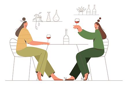 两个年轻女子聚会聊天生活插图