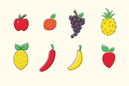 8个卡通水果图标