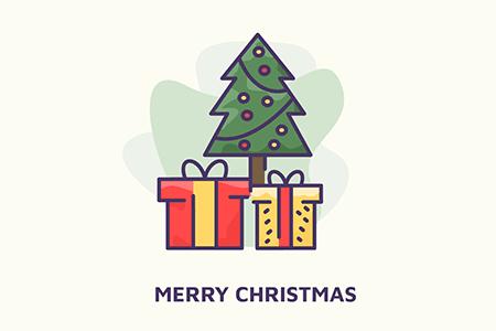 圣诞树下的彩色礼物