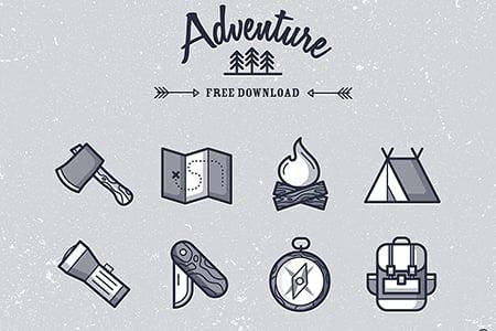 冒险和露营图标
