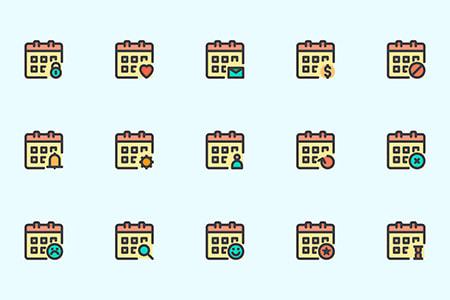 25枚日历类型图标