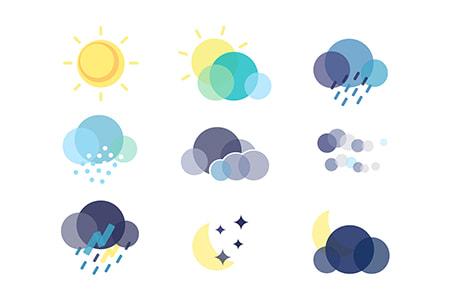 多色天气气候图形