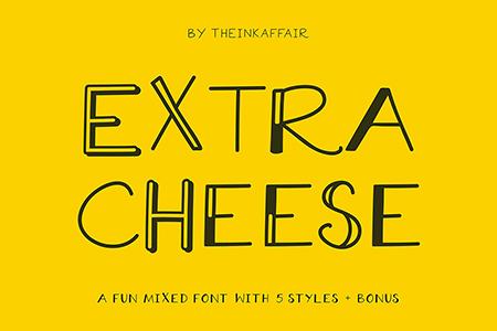 Extra Cheese卡通线条艺术字体
